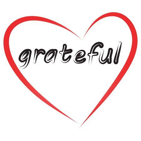 grateful: Grateful letter. Red heart border.Lettering.