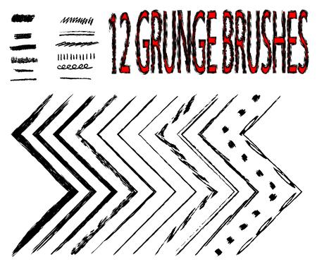 fanciful: brushes. Doodle brushes. Ink brushes. Decorative borders, dividers, frames.Set. Illustration