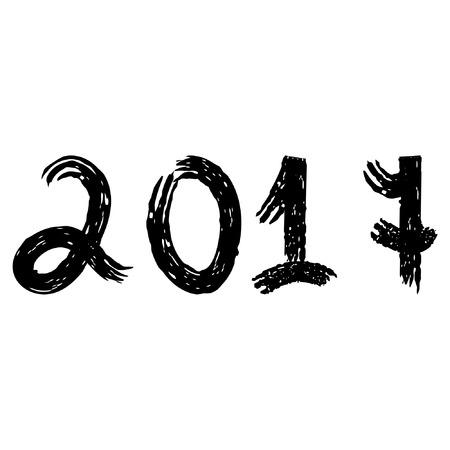 date night: New year 2017. Grunge style. Illustration