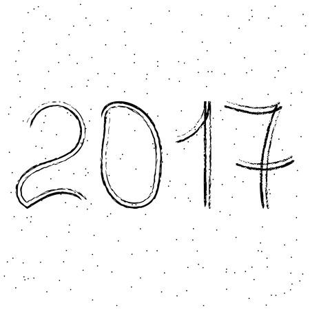 date night: New year 2017. White background. Illustration