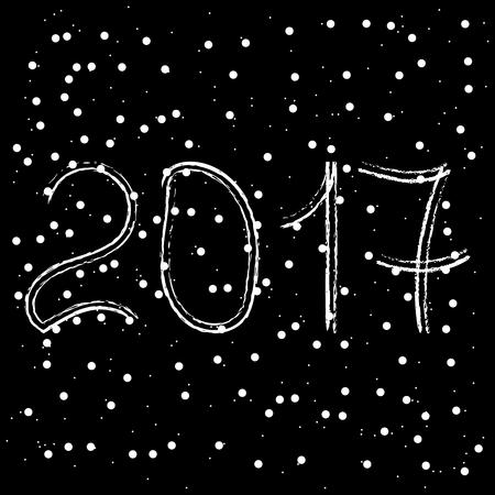 date night: New year 2017. Black background. Illustration