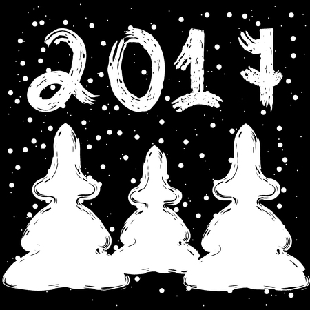New year 2017. Black background. Firtrees.