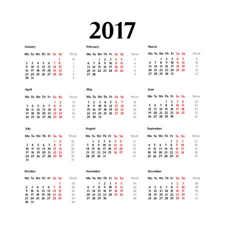 calendar design: 2017 calendar template. Classical.Simple design.