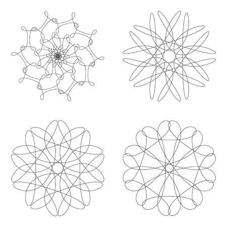 guilloche: template set. Guilloche decorative elements.