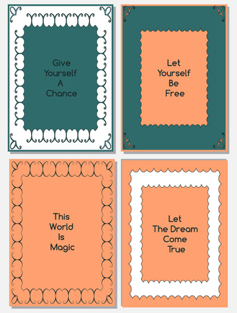 peachy: Vector set of design templates,leaflets and frames A4 size layouts, collection of decorative pages for gift card, cover, book, printing, foto frames, fashion presentation etc. Blue, peachy, white colors.