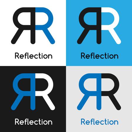 Modèle de conception de logo avec deux lettres R-Unis, ce qui représente une réflexion en quatre variations de bleu, blanc, couleurs noires. Vector illustration label. Banque d'images - 58458968
