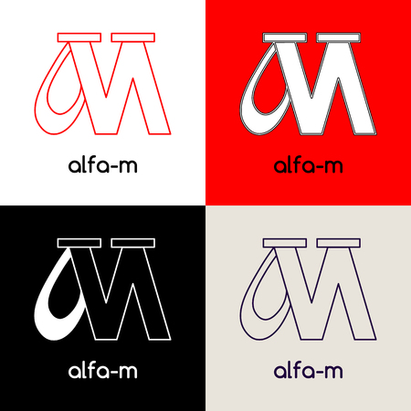 unification: Logo design template with two united letters Alfa and M,  in four variations of black, white, red and grey colors. Vector illustration label. Illustration