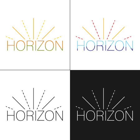 unification: Abstract horizon logo template with sun beams in four variations black, white and colorful designs. Logo design template. Vector illustration.