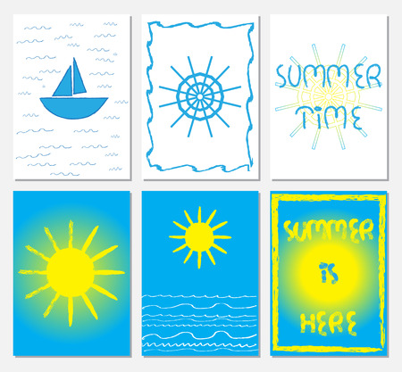 Collection of A4 format illustrations in navy style with steering weel, boat, sun, sea waves, letttering. Summer time, Summer is hear text. Blue, white, yellow colors.
