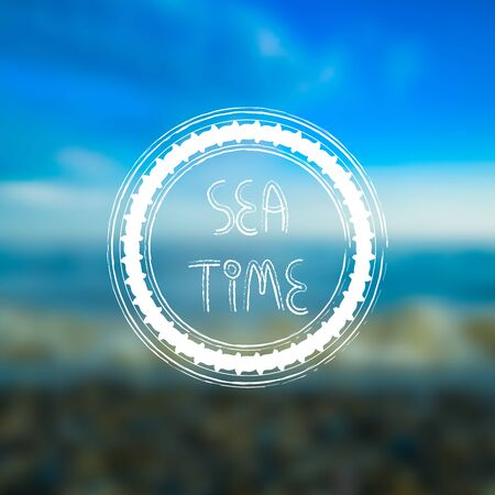 Blurred seaside, beach background with white round frame , grungy style. Sea time hand drawn text. For card, banner, typography etc.