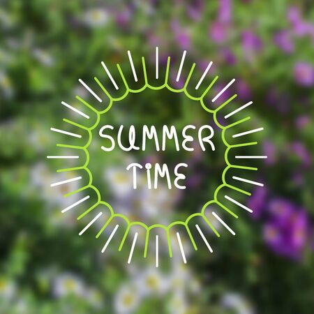 time frame: Blurred floral background with abstract green frame and lettering. Summer time text. For card, banner, typography etc. Illustration
