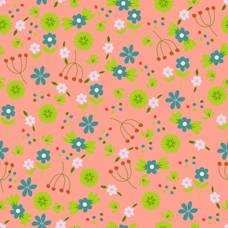 ashberry: Seamless floral pattern. Colorful summer background for creating card, invitation, wedding, wallpaper and textile. Bright illustration.