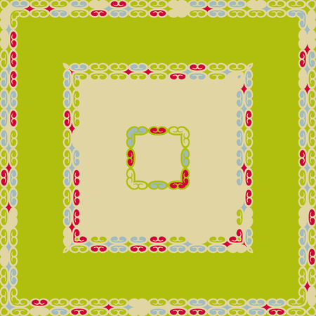 fanciful: Square pattern design with curves and swirls, decorative frame in green, blue, and red colors, abstract colorful background