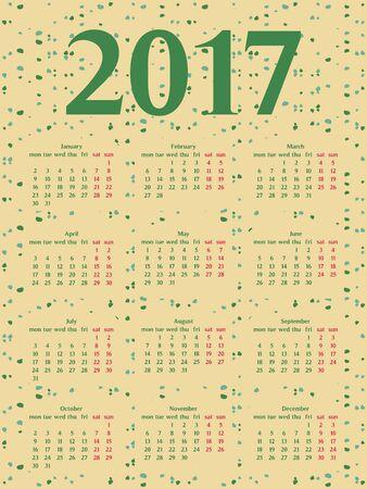 calendar design: 2017 year calendar template.Colorful decorative design. Illustration