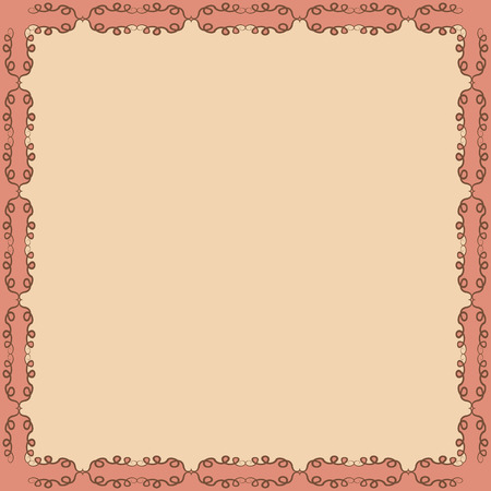 peachy: Decorative calligraphic  frame. Square pattern design with curves and swirls, abstract background Illustration