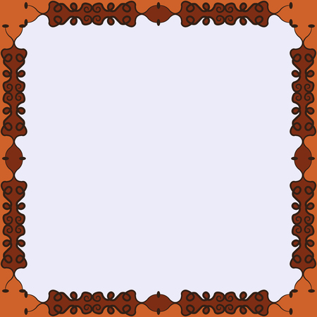 fanciful: Decorative calligraphic  frame. Square pattern design with curves and swirls, abstract background Illustration