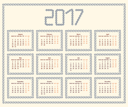 peachy: 2017 year calendar template with decorative doodle elements, hand drawn frames,blue and brown colors.