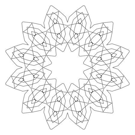 mono: Round decorative geometric pattern. Lace circle design template. Abstract mono line background. Mandala illustration Illustration