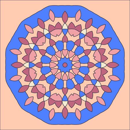 friso: patrón decorativo redondo. círculo del cordón plantilla de diseño. fondo colorido geométrico abstracto. ilustración de la mandala Vectores