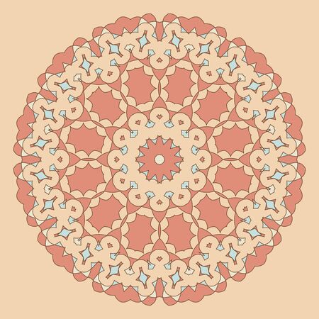 peachy: Round decorative pattern. Lace circle design template. Abstract geometric colorful background. Mandala illustration