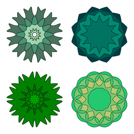 Collection of vector design templates and patterns. Abstract round icons. Set of creative circular symbols isolated on white background, green colors