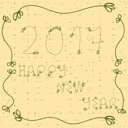 peachy: 2017 Happy new year  hand drawn illustration with doddle elements, decorative frame and dots. Green  and yellow colors.