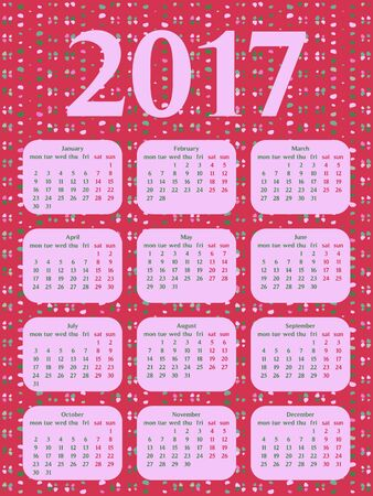 crimson: 2017 year calendar template. Colorful decorative design.