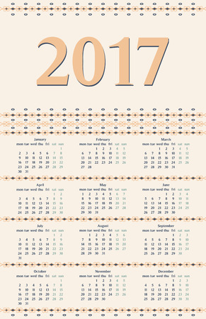 peachy: 2017 year calendar template with decorative calligraphic dividers, blue and peachy colors. Illustration