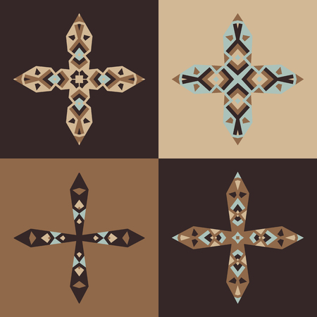 Vector emblem design templates and patterns. Abstract decorative icons. Set of creative crosses in brown colors. Illustration