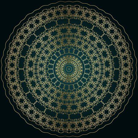 Golden mandala, luxury design element, islamic circular pattern, vector illustration.