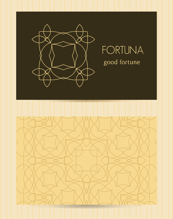 Two Sided Business Card Ornamental Design Template With Front