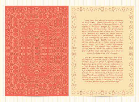 peachy: Vector template for restaurant menu, flyer, greeting card, brochure, book cover and any other decoration.Intricate pattern and frame in peachy colors Illustration