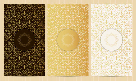 Set of flyers in golden color with logo. Collection of business templates, abstract geometric patterns and cards, background with round elements and frames.