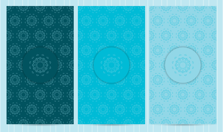 Set of flyers in blue color. Collection of business templates, seamless patterns in islamic, eatern, ornate style decorated with mandala.