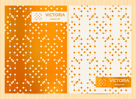 any size: A4 size cards in golden color with lines and dots. Vector luxury templates for restaurant menu, flyer, greeting card, brochure, book cover and any other decoration. Illustration