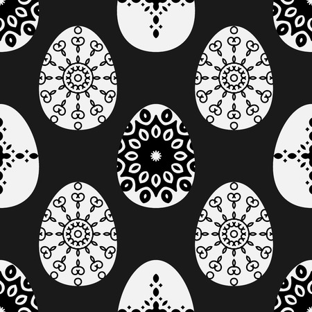 seamless pattern with decorative eggs. Esater bacground in black and white colors. Illustration