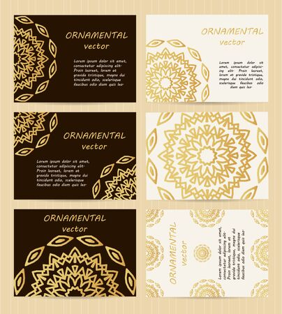 caligraphic: Business cards 3.5 x 2.5 inch size set. Golden mandala decoration. Eastern, oriental, islamic style.