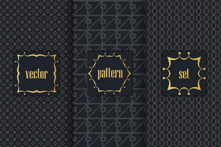 metalic texture: Collection of black backgrounds and golden geometric elements. Set of frames and seamless patterns. Templates with luxury foil for packaging Illustration