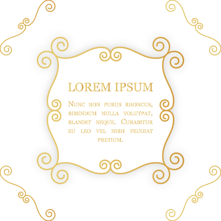 Golden decorative frame with swirls and curves. Luxury foil background. Design template for labels, packaging, greeting cards etc.