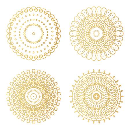 황금 장식 프레임 라운드 라운드를 설정합니다. 벡터 럭셔리 디자인 템플릿입니다. 크리 에이 티브 원형 패턴입니다. 일러스트