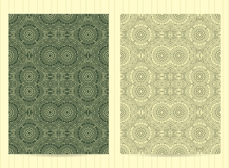 any size: 5x7 inch size cards decorated with mandala in green color. Vector template in eastern, oriental style for restaurant menu, flyer, greeting card, brochure, book cover and any other decoration. Illustration
