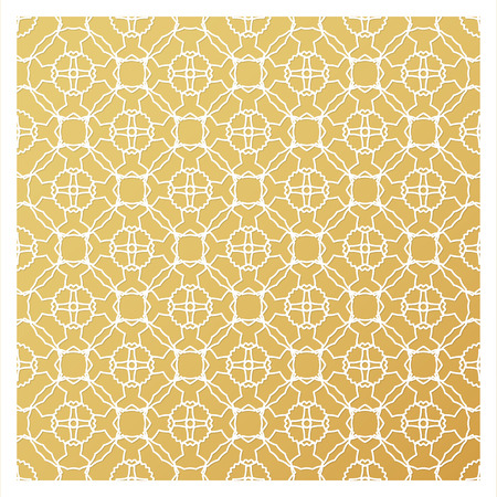 Laser cutting template. Die cut stencil. Square vector panel for invitation, envelope, printing, greeting, business, wood, metal cutout. White pattern on golden background. Ilustração