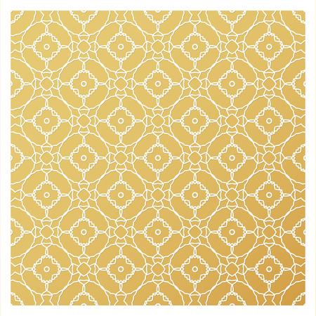 레이저 커팅 템플릿입니다. 스텐실을 자르십시오. 사각형 벡터 패널 초대장, 봉투, 인쇄, 인사말, 비즈니스, 나무, 금속 컷 아웃. 황금 배경에 흰색 패턴 일러스트