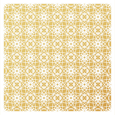 pasteboard: Laser cutting template. Die cut stencil. Square vector panel for invitation, envelope, printing, greeting, business, wood, metal cutout. White pattern on golden background. Illustration