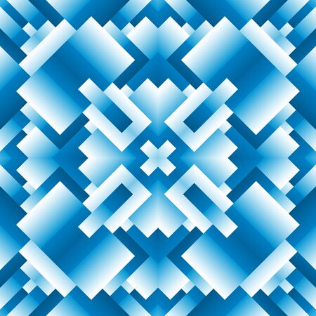 Bright, psychodelic seamless pattern. Mosaic decorative design template. Geometric abstract background. Blue colors.