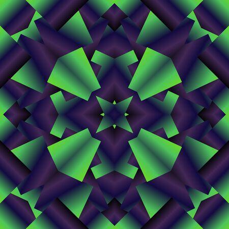 Helles, psychodelisches nahtloses Muster. Dekorative Entwurfsschablone des Mosaiks. Geometrischer abstrakter Hintergrund. Blaue und grüne Farben.
