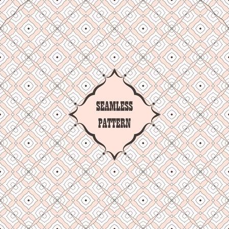 벡터 원활한 패턴입니다. 장식 디자인 서식 파일입니다. 갈색과 핑크 색상의 레트로, 빈티지 레이블로 창조적 인 배경 생각 일러스트