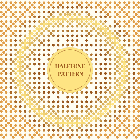 Square white background size with halftone pattern in brown colors. Templates for card, brochure, cover, etc. Illustration