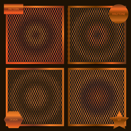cuprite: Set of square cards size with halftone patterns in copper colors. Templates for card, brochure, cover, etc.