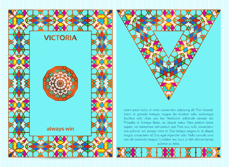A4 size business template with colorful mosaic frame, border, mandala and triangle, golden inserts, for restaurant menu, flyer, greeting card. Illustration